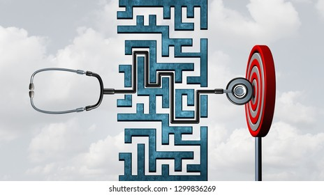 Healthcare success and patients to succeed in medical care or successful doctor concept as a stethoscope solving a maze to hit the target and succeed as a 3D illustration.