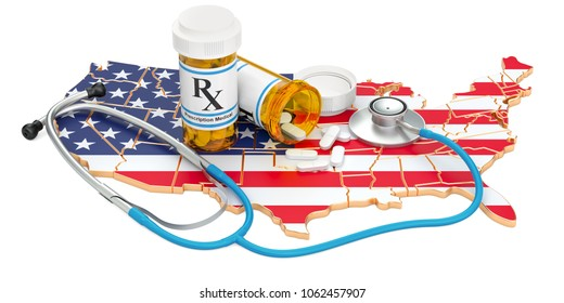Healthcare in the USA concept, 3D rendering isolated on white background