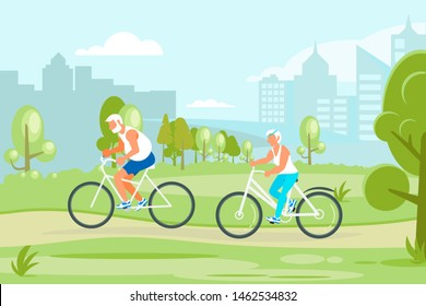 Healthy active lifestyle retiree for grandparents. Elderly people characters cycling in the city park. Grandparents family Seniors isolated. Flat Art Rastered Copy