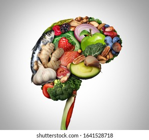 Healthy brain food to boost brainpower nutrition concept as a group of nutritious nuts fish vegetables and berries rich in omega-3 fatty acids for mind health with 3D illustration elements.