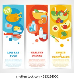 Healthy eating vertical banner set with fruits and vegetables drinks low fat food isolated  illustration