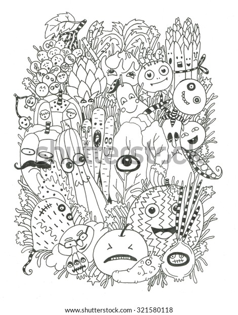 Healthy Food Coloring Page Stock Illustration 321580118