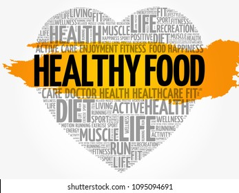 Healthy Food heart word cloud, fitness, sport, health concept
