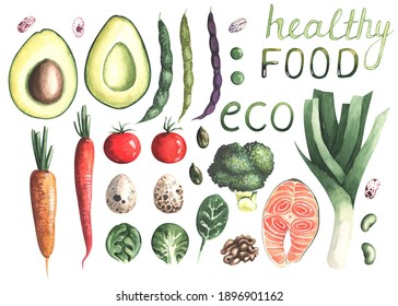 Healthy food illustrations. Hand-draw in watercolor vegetables set on white background.