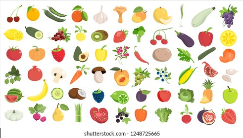 Healthy food likes. Fruits and vegetables on white.