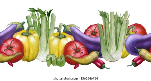 healthy fresh organic colorful watercolor hand drawn seamless border vegetables purple eggplant yellow green bell pepper red tomato chili pepper celery sticks celeriac vegan vegatarian food harvest