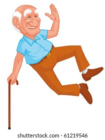 Healthy grandfather jumping