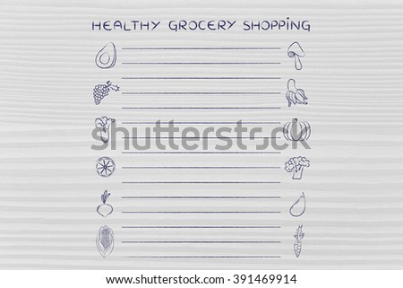 Healthy Grocery Shopping Template Fruit Vegetables Stock
