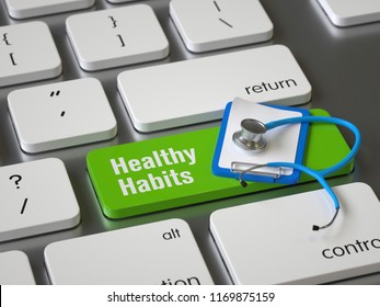 Healthy habits key on the keyboard, 3d rendering,conceptual image