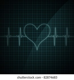Healthy heart beat on monitor screen. Medical illustration. Heart shape.