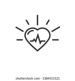 Healthy heart beating icon, line outline art heart symbol with pulse cardiogram isolated on white background image