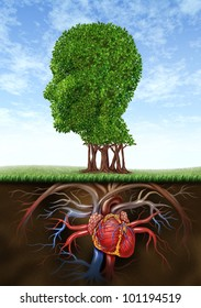 Healthy heart and mind with a tree in the shape of a human head and a heart organ as roots growing under ground as a medical and health care connection between brain with blood circulation.