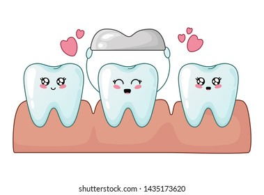 Healthy kawaii teeth and tooth with metal crown, cute cartoon characters, concept of dentistry and orthodontics, teeth treatment, oral hygiene and dental care. Flat illustration