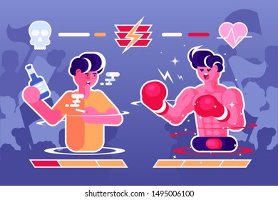 Healthy lifestyle against harmful illustration. Man drink alcohol and smoking cigarette standing opposite boy boxer flat style design. Sport and health care concept