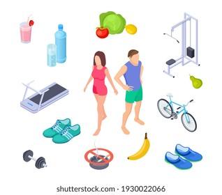 Healthy lifestyle. Good habits sport activity. Regular exercises, diet nutrition. Isometric man woman farm food shoes