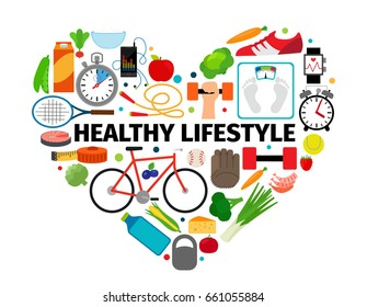 Healthy lifestyle heart emblem. Health, healthy food and active daily routine flat icons banner isolated on white background
