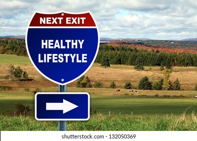 Healthy lifestyle road sign against a beautiful autumn country landscape