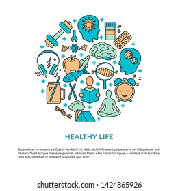 Healthy lifestyle round concept banner with icons in colored line style. Biohacking theme poster with place for text.