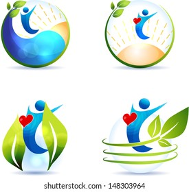 Healthy lifestyle symbol collection. Healthy heart and healthy life. Isolated on a white background.