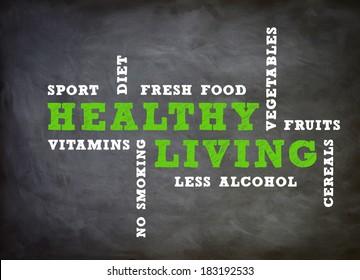 Healthy Living concept written on chalkboard