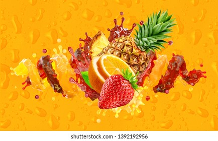 Healthy orange, strawberry, pineapple fruit juices liquid splashes. Fruits juice splashing together - orange, pineapple, strawberry juice in two colorful splashes. Ad label design. Clipping path. 3D