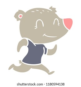 healthy runnning bear flat color style cartoon