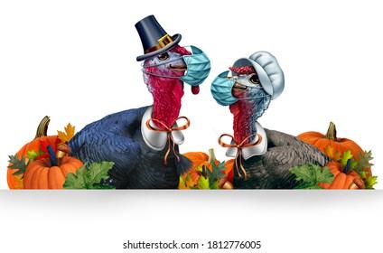Banner de Acción de Gracias saludable como signo estacional con un átomo o gobbler de pavo y una gallina y cada uno con una máscara facial y protección facial quirúrgica para la protección contra la enfermedad con elementos ilustrativos 3D.