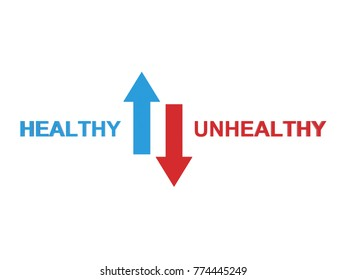 Healthy vs Unhealthy Concept with Arrow  - 3D Rendered Image