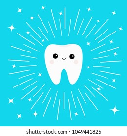 Healthy white tooth icon with smiling face. Cute cartoon character. Round line circle. Oral dental hygiene. Children teeth care. Shining effect stars. Bright blue background. Flat design.