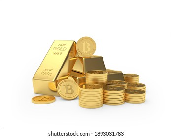 Heap of bitcoin coins and gold bars isolated on white background. 3D illustration