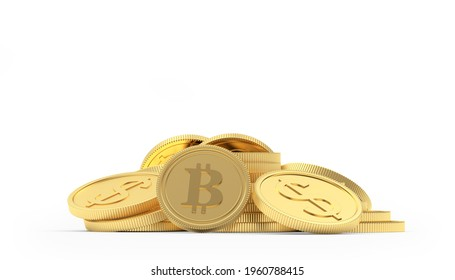 Heap of bitcoin and dollar gold coins isolated on white background. 3D illustration
