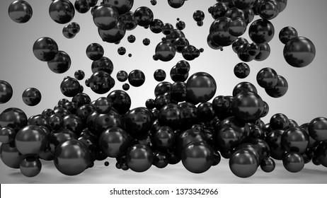 Heap of Black Balls Falling on gradient background. 3D Rendering