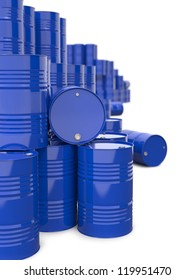 Heap of Blue Metal Oil Barrels. Industrial Background.