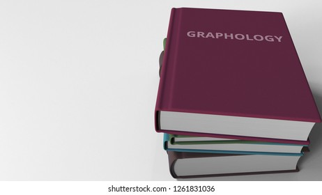 Heap of books on GRAPHOLOGY, 3D rendering