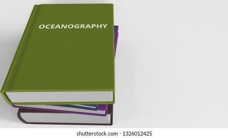 Heap of books on OCEANOGRAPHY, 3D rendering