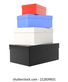 Heap of colored  shoeboxes isolated on white background. 3d rendering image