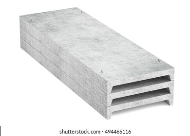 heap of concrete slabs, 3D rendering isolated on white background