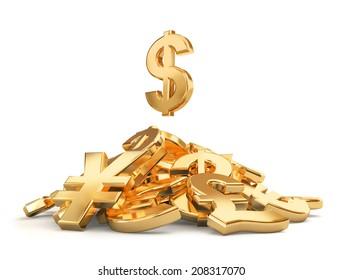 Heap of different currencies symbols.