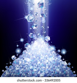 Heap of falling diamonds under blue light. Diamond pile.