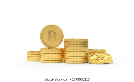 Heap of gold bitcoin coins isolated on white background. 3D illustration