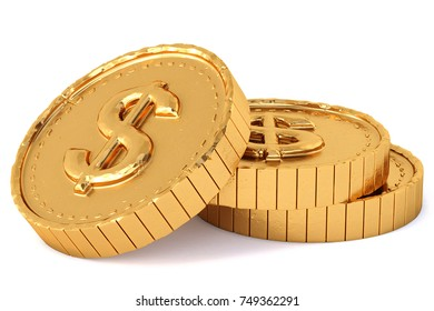heap of gold coins with dollar sign. Isolated on white background. 3d illustration.