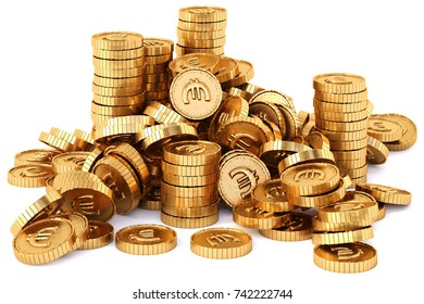 heap of gold coins with euro sign. Isolated on white background. 3d illustration.