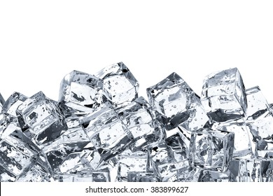 heap of ice cubes on white background