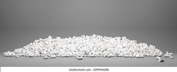 Heap of many empty white to go coffee cups as a background (3D Rendering)