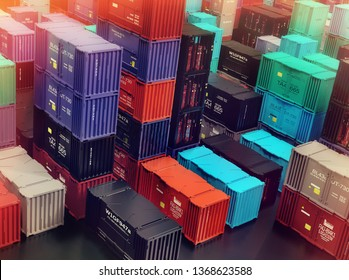 Heap of shipping containers freight cargo in city depot warehouse. Outdoor solving logistical urban problems. 3d rendering.