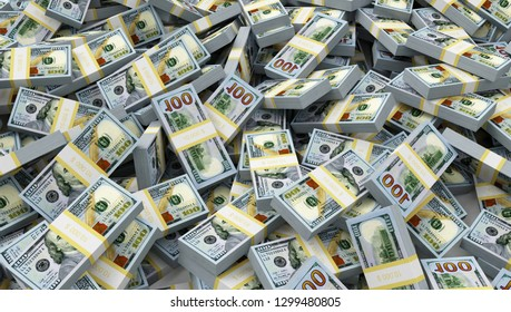 Heap of Stack of Dollar Bills. Business and Finance Concept. 3D Rendering