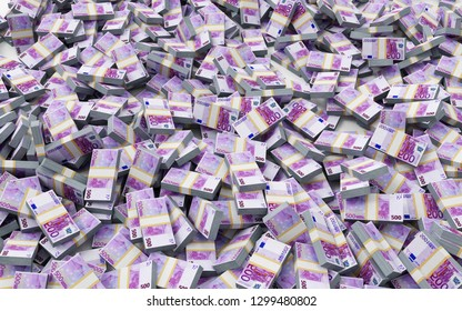 Heap of Stack of Euro Bills. Business and Finance Concept. 3D Rendering
