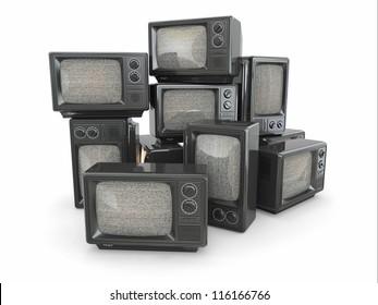 Heap of vintage tv. End of television. Conceptual image. 3d