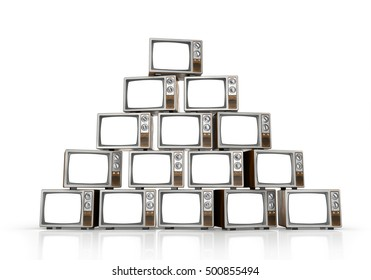 Heap of vintage tv on white background. 3d illustration