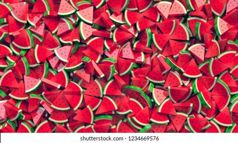 Heap of watermelon slices abstract background. 3D Rendering.